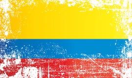 Bandera de Colombia, puntos sucios arrugados ilustración del vector