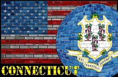 Bandera de Connecticut en el fondo de la bandera de los E.E.U.U. Fotografía de archivo