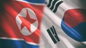 Bandera de Corea del Norte del sur y  stock de ilustración