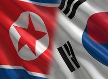 Bandera de Corea del Norte del sur y  ilustración del vector