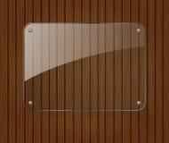 Bandera de cristal en fondo de madera ilustración del vector
