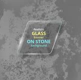Bandera de cristal realista en fondo concreto piedra Imagen de archivo