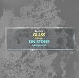 Bandera de cristal realista en fondo concreto piedra Imágenes de archivo libres de regalías