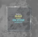 Bandera de cristal realista en fondo concreto piedra Foto de archivo libre de regalías