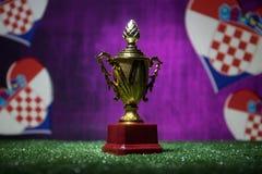 Bandera de Croacia, campeón de oro \ 'taza de s en hierba Deporte del concepto Fotos de archivo