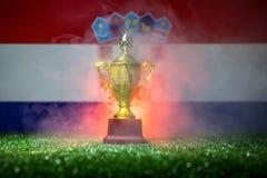Bandera de Croacia, campeón de oro \ 'taza de s en hierba Deporte del concepto Fotografía de archivo
