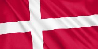 Bandera de Dinamarca que agita con el viento Foto de archivo