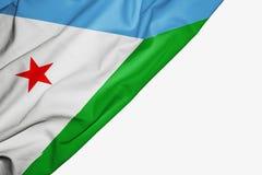 Bandera de Djibouti de la tela con el copyspace para su texto en el fondo blanco stock de ilustración