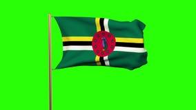 Bandera de Dominica que agita en el viento Pantalla verde ilustración del vector