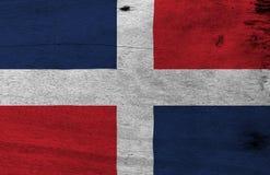 Bandera de dominicano en fondo de madera de la placa Textura dominicana de la bandera del Grunge libre illustration