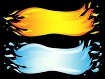 Bandera de dos elementos: onda ardiente de la llama y del mar Imagenes de archivo