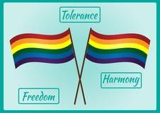 Bandera de dos LGBT en un polo y tres marcos para el texto con las palabras ilustración del vector