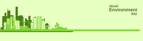 Bandera de Eco de la ciudad de la silueta del verde del día del ambiente mundial Fotografía de archivo libre de regalías