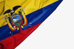 Bandera de Ecuador de la tela con el copyspace para su texto en el fondo blanco libre illustration