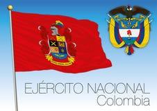 Bandera de Ejercito Nacional, ejército colombiano stock de ilustración