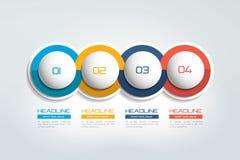 bandera de 4 elementos del negocio, plantilla 4 pasos diseñan, trazan, opción infographic, gradual del número, disposición ilustración del vector