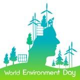 Bandera de energía solar principal verde del día del ambiente mundial del panel de la turbina de viento de la silueta Foto de archivo libre de regalías