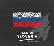 Bandera de Eslovenia, ejemplo dibujado mano del bosquejo del vector en fondo oscuro del grunge Fotos de archivo libres de regalías