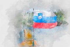 Bandera de Eslovenia en el viento, acuarela Imagenes de archivo