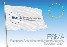 Bandera de ESMA, seguridades europeas y autoridad de los mercados, unión europea libre illustration