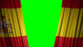 Bandera de España animación 3d de la apertura y de cortinas cerradas con la bandera 4K libre illustration