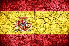 Bandera de España en fondo agrietado de la textura Fotografía de archivo libre de regalías