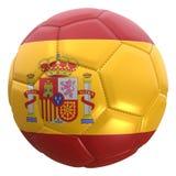 Bandera de España en una bola del fútbol Imágenes de archivo libres de regalías