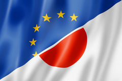 Bandera de Europa y de Japón ilustración del vector