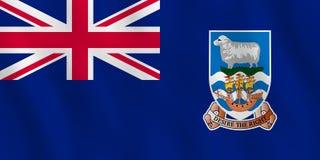 Bandera de Falkland Islands con el efecto que agita, proporción oficial ilustración del vector