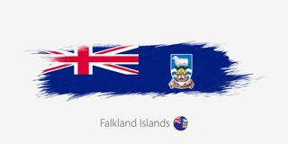 Bandera de Falkland Islands, movimiento abstracto del cepillo del grunge en fondo gris ilustración del vector