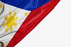 Bandera de Filipinas de la tela con el copyspace para su texto en el fondo blanco libre illustration