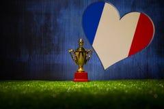 Bandera de Francia, campeón de oro \ 'taza de s en hierba Deporte del concepto Imagenes de archivo