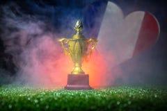 Bandera de Francia, campeón de oro \ 'taza de s en hierba Deporte del concepto Foto de archivo libre de regalías