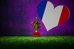 Bandera de Francia, campeón de oro \ 'taza de s en hierba Deporte del concepto Imagen de archivo libre de regalías