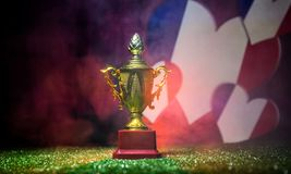 Bandera de Francia, campeón de oro \ 'taza de s en hierba Deporte del concepto Imágenes de archivo libres de regalías