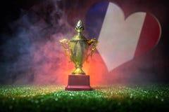 Bandera de Francia, campeón de oro \ 'taza de s en hierba Deporte del concepto Imagen de archivo