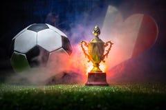 Bandera de Francia, campeón de oro \ 'taza de s y balón de fútbol en hierba Deporte del concepto Fotografía de archivo