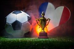 Bandera de Francia, campeón de oro \ 'taza de s y balón de fútbol en hierba Deporte del concepto Imágenes de archivo libres de regalías