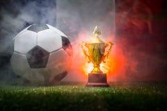 Bandera de Francia, campeón de oro \ 'taza de s y balón de fútbol en hierba Deporte del concepto Fotografía de archivo libre de regalías