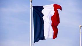Bandera de Francia o la bandera de Francia que agita en un día ventoso Bandera azul, blanca, y roja almacen de video