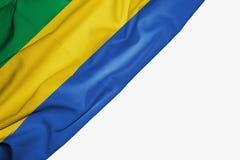 Bandera de Gab?n de la tela con el copyspace para su texto en el fondo blanco stock de ilustración