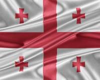 Bandera de Georgia con una textura de seda brillante Fotos de archivo