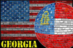 Bandera de Georgia en el fondo de la bandera de los E.E.U.U. Fotografía de archivo