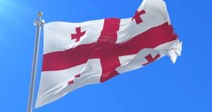 Bandera de Georgia que agita en el viento en lento en el cielo azul, lazo ilustración del vector