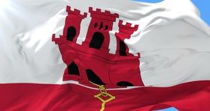 Bandera de Gibraltar que agita en el viento con el cielo azul, lazo libre illustration