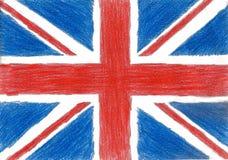 Bandera de Gran Bretaña, foto del estilo del niño del ejemplo del dibujo de lápiz imagen de archivo libre de regalías
