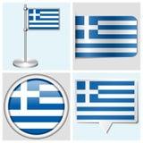 Bandera de Grecia - sistema de etiqueta engomada, de botón, de etiqueta y de la Florida Imagenes de archivo