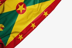 Bandera de Grenada de la tela con el copyspace para su texto en el fondo blanco ilustración del vector