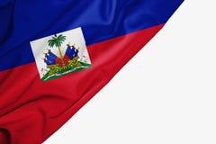 Bandera de Hait? de la tela con el copyspace para su texto en el fondo blanco ilustración del vector