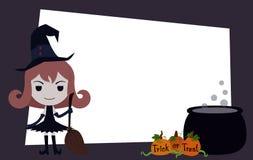 Bandera de Halloween con el carácter de la bruja de la historieta y la calabaza anaranjada Fotografía de archivo